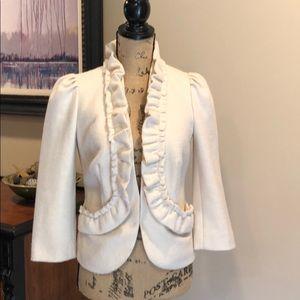 Elevenses Cream Wool Blend Blazer - Size 2